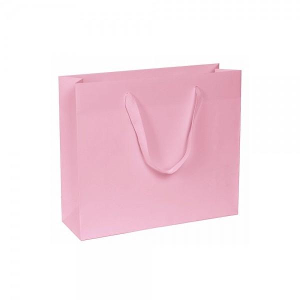 Luxe papieren draagtas - katoenen linten - omgeslagen bovenrand - wit kraft - Roze - 24x8x20+5 cm-0