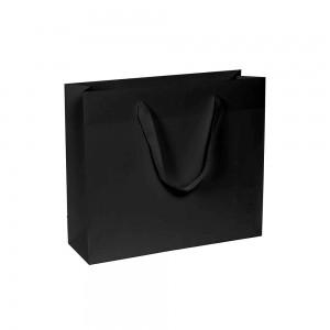 Luxe papieren draagtas - katoenen linten - omgeslagen bovenrand - wit kraft - Zwart - 14x7x14+4 cm-0