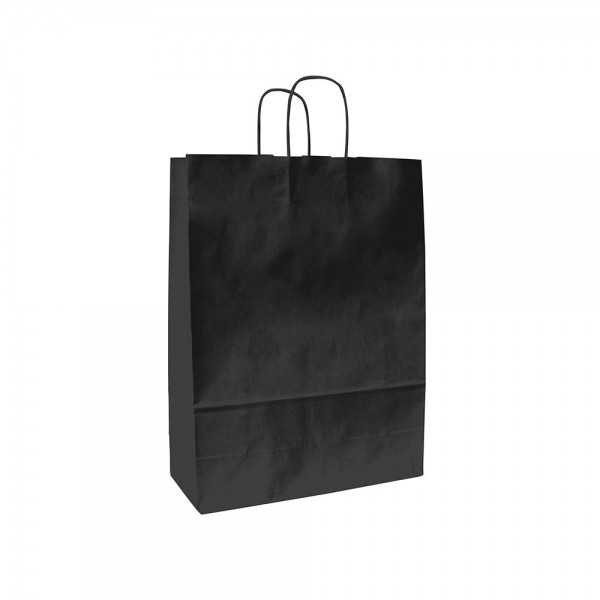 Papieren draagtas gedraaide handgreep - Wit kraft - Zwart