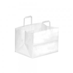 Papieren draagtas platte handgreep - Wit kraft - 32x21x24 cm-0