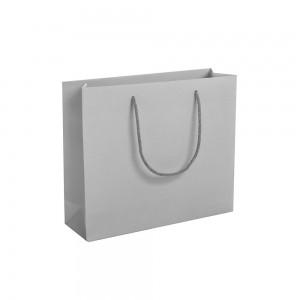 Luxe papieren draagtas katoenen koorden omgeslagen bovenrand - Grijs