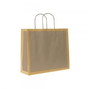 Papieren draagtas gedraaide handgreep - Omgeslagen bovenrand - Bruin gerecycled - Grijs blok