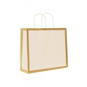 Papieren draagtas gedraaide handgreep - Omgeslagen bovenrand - Bruin gerecycled - Wit blok