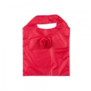 Opvouwbare polyester draagtas roosmotief - Rood - 37x38 cm