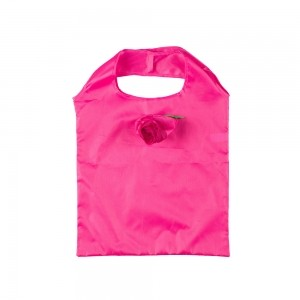 Opvouwbare polyester draagtas roosmotief - Roze - 37x38 cm