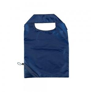 Opvouwbare polyester draagtas trekkoordsluiting - Blauw - 37x38 cm