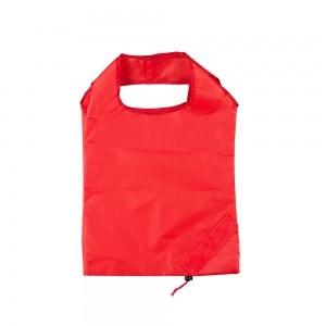 Opvouwbare polyester draagtas trekkoordsluiting - Rood - 37x38 cm