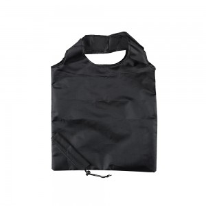 Opvouwbare polyester draagtas trekkoordsluiting - Zwart - 37x38 cm