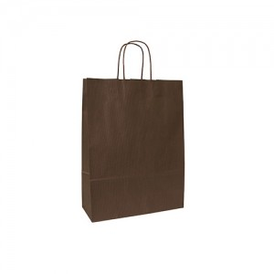 Papieren draagtas gedraaide handgreep bruin gestreept donkerbruin